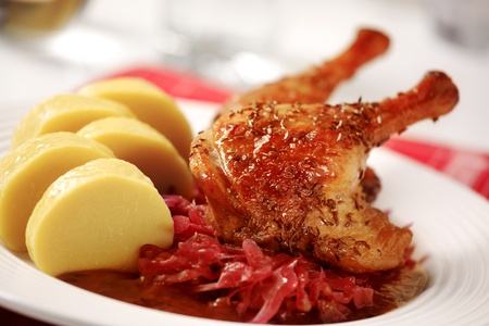 Roast Duck with Red Cabbage and  Potato Dumplings - Czech cuisine Stock Photo - 8907074