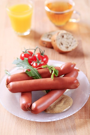 Breakfast of boiled sausages, mustard and bread Stock Photo - 8917695