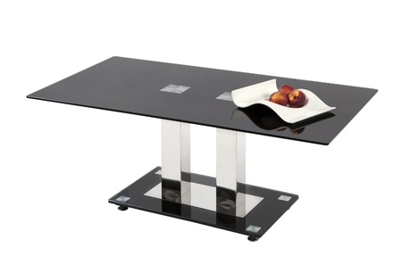 table glass: Black glass top coffee table - isolated