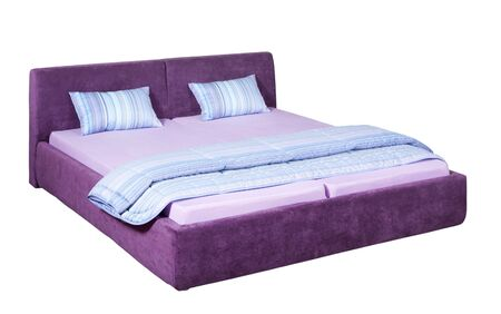 Suede double bed with light blue bed linen