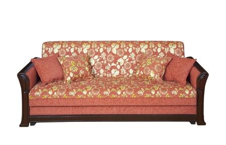 divan: H�lzerne Sofa mit Bl�mchenmuster Sattlereien - Ausschnitt