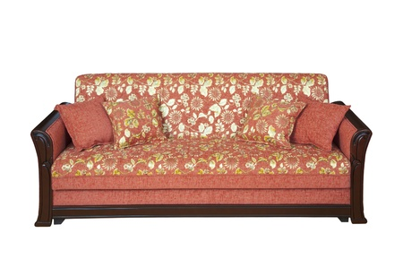settee: Wooden sofa with floral pattern upholstery - cutout Stock Photo