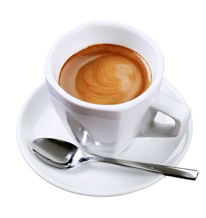 Cup of espresso with golden brown foam photo