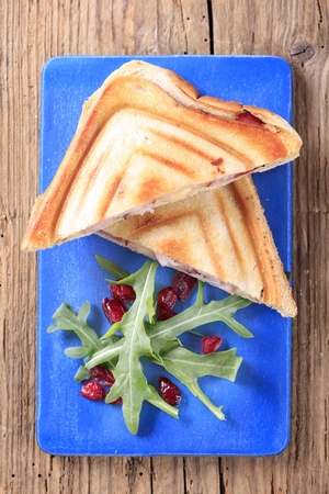 Bacon and cheese toasted sandwiches - overhead photo