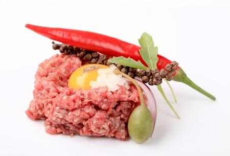 Ingredients for steak tartare - still life