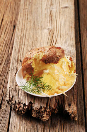 jacket potato: Baked potato with two kinds of cheese