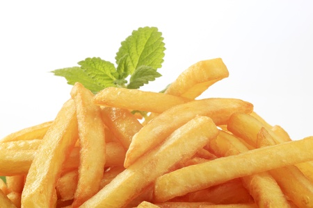 deep fry: Heap of tasty French fries - detail