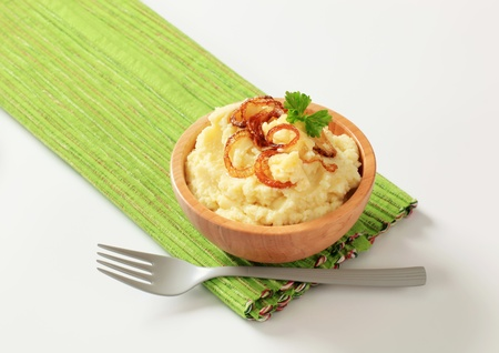 browned: Bowl of mashed potato and browned onion