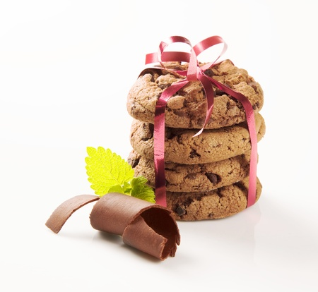 topknot: Stack of chocolate cookies tied with a ribbon