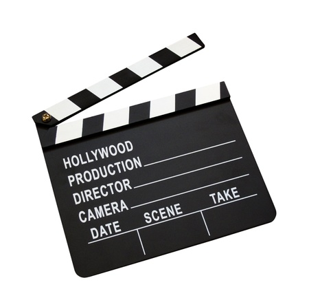 Film clap board isolated on white background photo