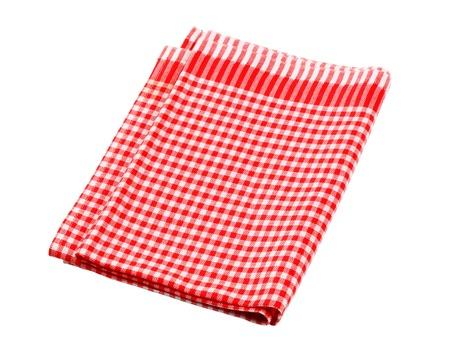white napkin: Red and white checked tea towel - cutout