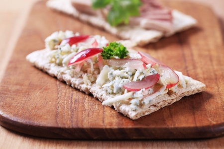 crispbread: Crispbread with blue cheese and pate - closeup