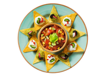 chips and salsa: Tortilla chips arranged around a bowl of salsa  Stock Photo