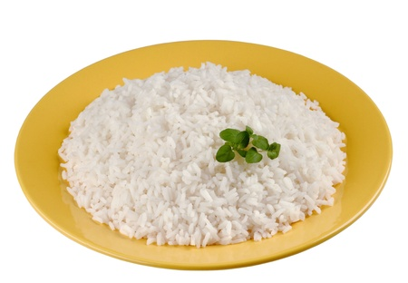 Plate of cooked rice - cutout photo
