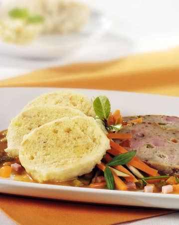 meat loaf: Bread dumplings and slices of meat loaf