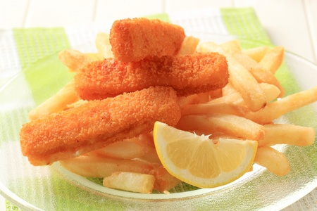 breading: Fried fish sticks and French fries