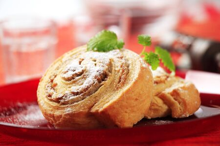 danish: Danish pastries with nut filling - closeup  Stock Photo