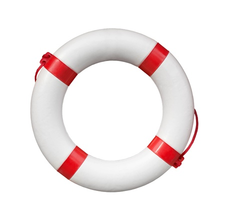Red and white life buoy isolated on white photo