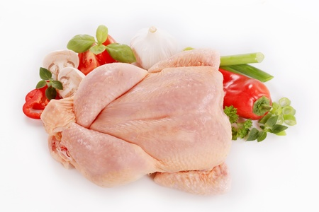 chicken meat: Raw chicken and fresh vegetables - overhead