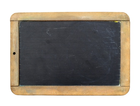 school aged: Vintage slate chalk board isolated on white