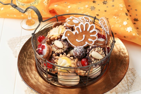 Variety of Christmas cookies and tartlets - detail Stock Photo - 9976217