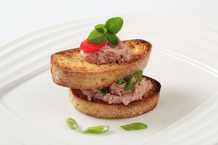 Two slices of toasted bread and pate Stock Photo - 9976206