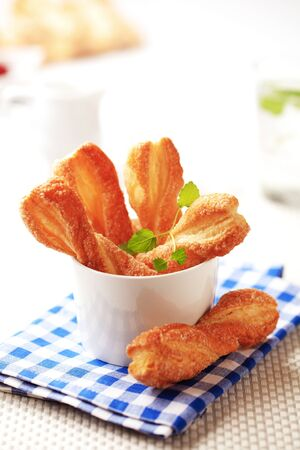 twists: Puff pastry twists - can be either sweet or savory Stock Photo