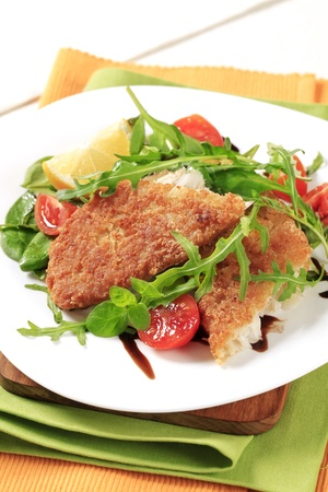 Fried fish on a bed of fresh salad Stock Photo - 10199608