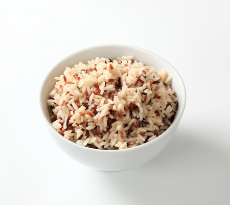 bowl with rice: Bowl of cooked mixed rice - studio Stock Photo