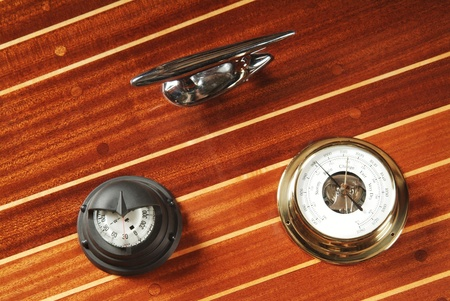 navigational: Nautical measuring devices on a wooden deck