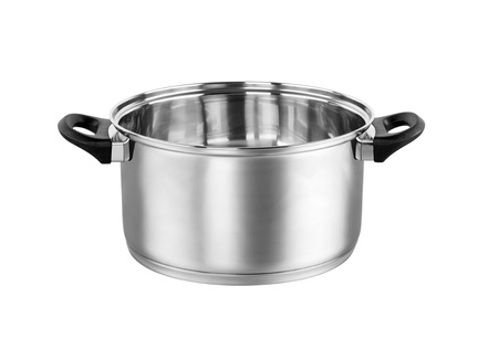 Shiny stainless steel pot Stock Photo