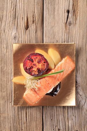 Salmon fillet and potatoes - overhead photo