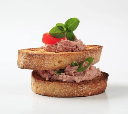 pate: Two slices of toasted bread and pate Stock Photo