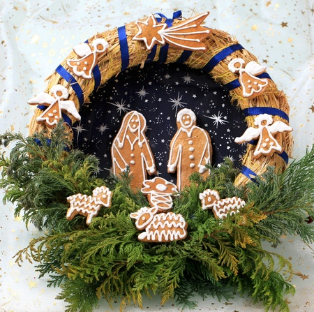 Christmas wreath with homemade gingerbread cookies photo