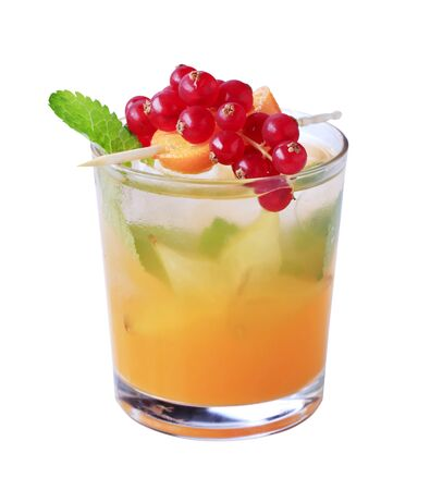 Glass of iced drink garnished with fresh fruit Stock Photo - 10841120