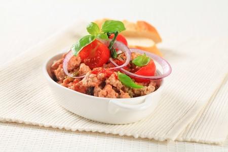 Stir-fried minced meat  in a casserole dish photo