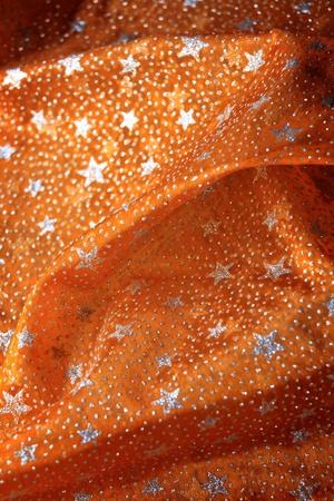 gestickt: Weihnachtstischdecke mit silbernen Sternen - Detail Lizenzfreie Bilder