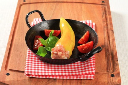 Yellow pepper stuffed with minced meat  photo