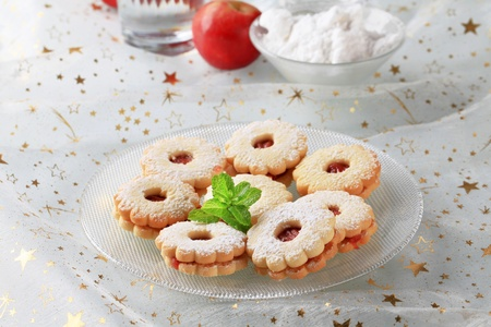 Jam shortbread cookies powdered with icing sugar Stock Photo - 11278442