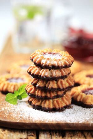 dipped: Chocolate dipped cookies with jelly center