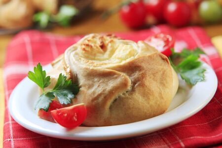 pasty: Vegetarian pasty with savory filling - closeup Stock Photo