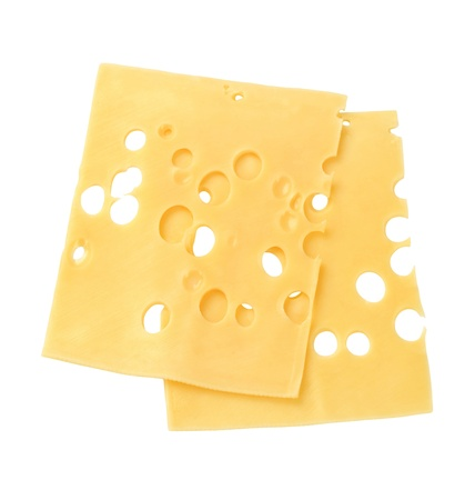 cheese slices: Thin slices of Swiss cheese - studio Stock Photo