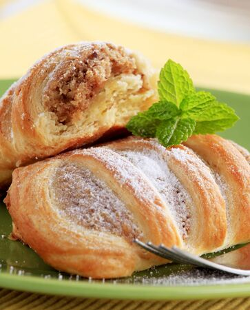 Sweet puff pastries with nutty filling - detail photo