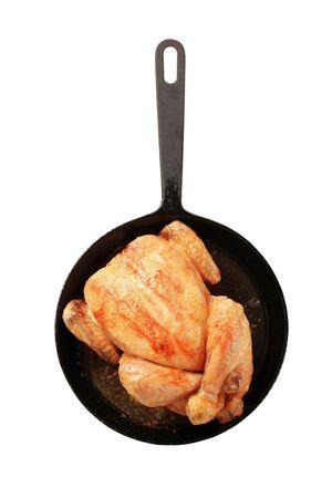 skillet: Roast chicken on an iron skillet