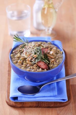 lentil: Bowl of lentil soup - closeup