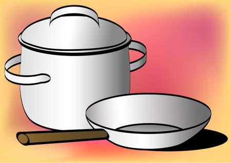 stockpot: Pot and pan - still life Stock Photo