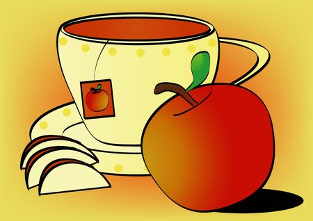 nonalcoholic: Cup of fruit tea and apple