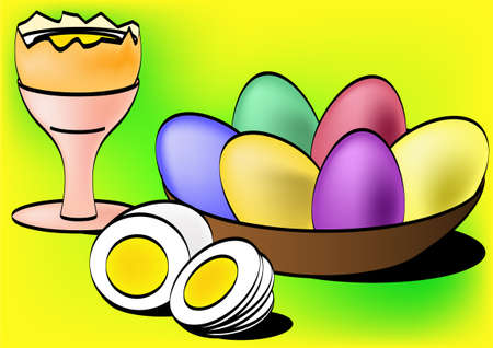 boiled eggs: Painted eggs and boiled egg in eggcup Stock Photo