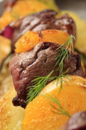 shish kebab: Macro shot of red meat shish kebab