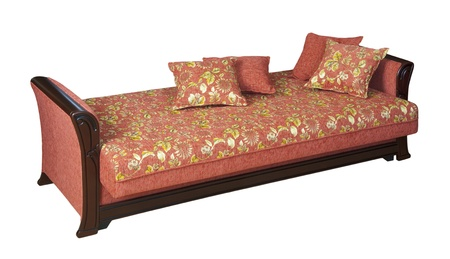 Wooden sofa with floral pattern upholstery - cutout photo